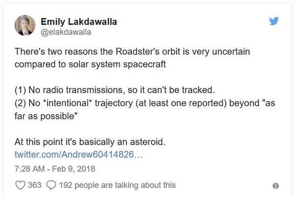 塵埃/隕石/宇宙射線和其他一切,正在摧毀太空中的特斯拉